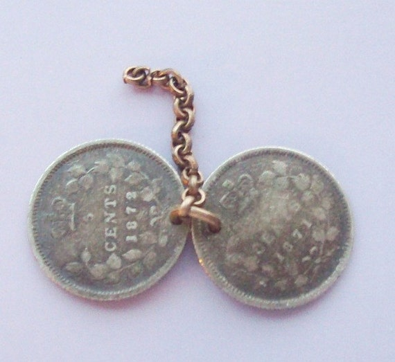 1872 Victorian Coin Charm Sterling Silver Canada 5 Cent