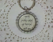 Lord Of The Rings Inspired Elvish Font Silver Key Chain,  Choose Your Quote, Book Lovers Keychain