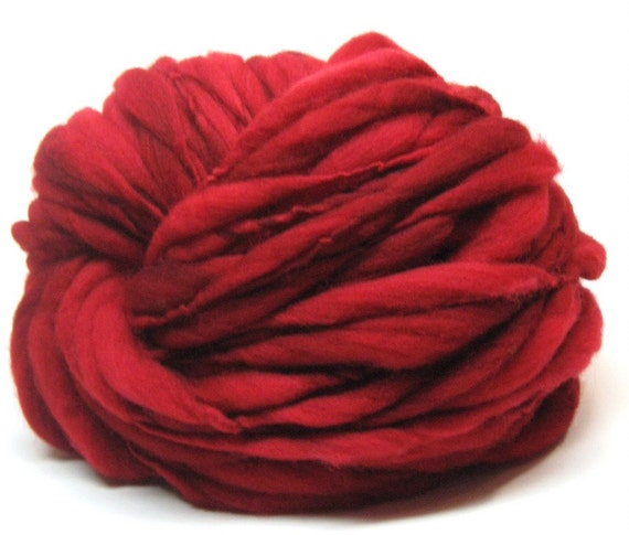 Super bulky red handspun yarn in thick and thin merino wool - 45 yards, 2.8 ounces, 79 grams