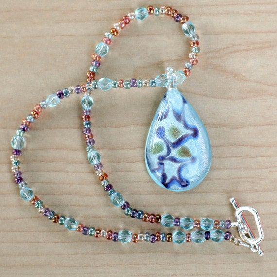 Summer Daydreams Diva Necklace - Glass Pendant - Czech Crystals -  Moonstone Seed Bead Mix