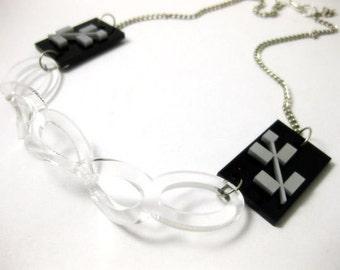 Folk flowers acrylic necklace - contemporary jewellery