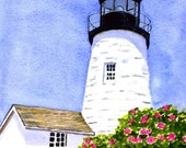 WaterColor Light House Maine CapeCod Nantucket Marthas Vineyard-Roses-Beach Print