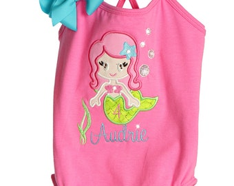 Custom Boutique Personalized TrendyGirlz Birthday Mermaid Princess Girl Top Shirt Tank Dress Onesie Design Your Own