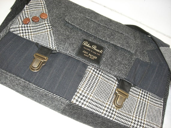 Messenger Bag  Laptop Sleeve,Trunk Latch collar and sleeve accents,Recycled Suit Coat