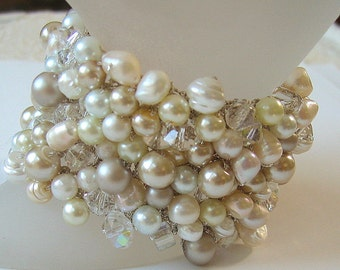Freshwater, Pearl Mix Wedding Bracelet with Crystals, Big  Wide Chunky Cuff, Ivory, White, Champagne, Hand Knit Exclusive, Sereba Designs