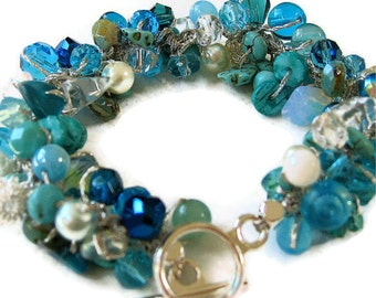 Destination Ocean Beach Wedding Bridal, Bridesmaids Beaded Crystal Bracelet, Blue Green, Teal, Aqua, OCEAN CARIBE, Hand Knit, Sereba Designs