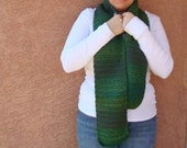 Long Green Scarf for Men or Women - Crochet, Crocheted Mardi Gras Confetti Multicolor Scarf - Hoooked Scarves - Ready To Ship