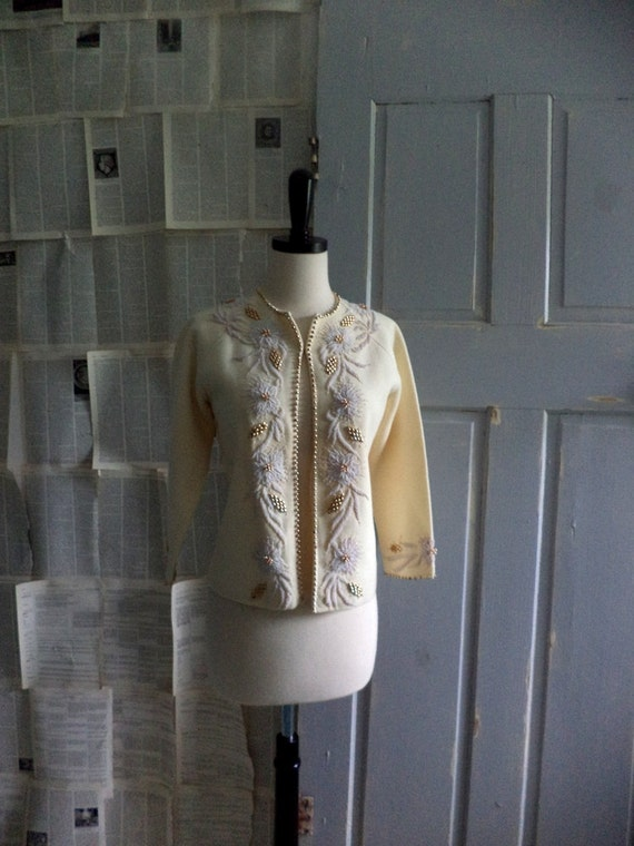1960s Beaded Sweater, Vintage Beaded Sweater, Beaded Cardigan, Size Small