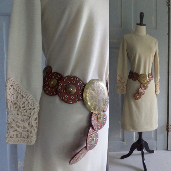 Vintage 1960s Dress 60s Off White Dress with Amazing Sleeves Fall Fashion Womens Size Small Size Medium