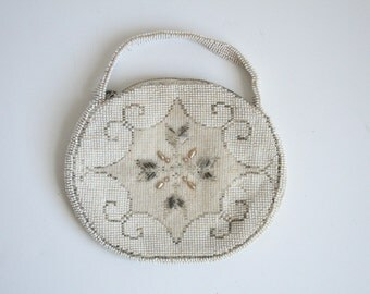 Czech Glass Beaded Handbag - Ivory Snowflake Design