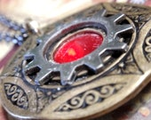 "Steampunk Gear necklace with red chanton and engraving on 24"" Gunmetal rolo chain"