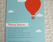 HOT AIR BALLOON - customized printable baby shower invitation, aqua blue orange yellow pink