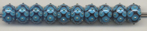 Tom's lampwork dark aqua blue dotted beads, 2 bead set, 1 pair 0273