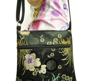 US handmade Cross Overbody bag Flowers Asian Pattern Shoulder Bag handbag Purse , New,