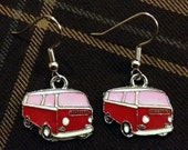 Bay Window Bus Earrings - Red With Pink