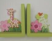Personalized hand painted bookends,girly jungle, giraffe, elephant,bird.pink,green,girly jungle decor,girls bookends, giraffe bookends,kids