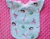 Baby Toddler Girl Long Pull-Over Reversible Bib, Lady Bugs and Dragon Flies....READY TO SHIP