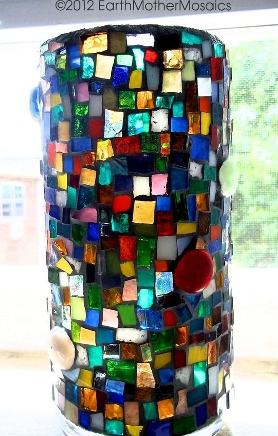 Stained Glass Mosaic Vase, Candle Holder, Multicolored, Home Decor, Hostess Gift - 7 inches x 3 inches