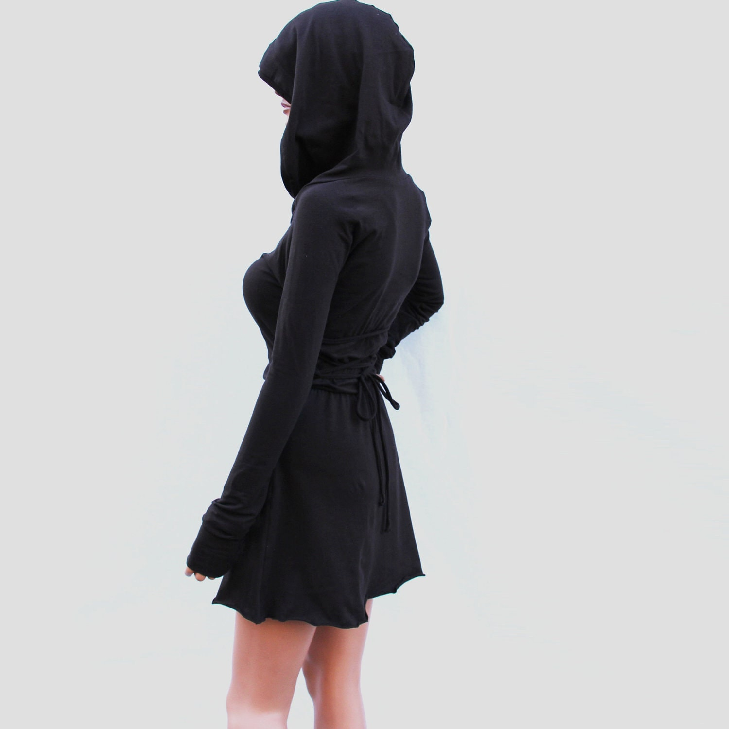 Dress / Hoodie Dress / Hooded Dress / Brown Hoodie Dress