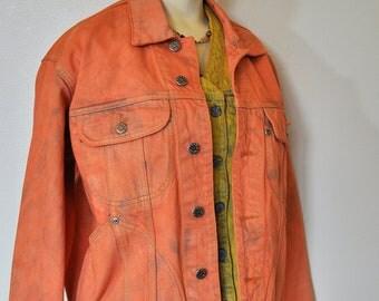 "Orange Mens Small Denim JACKET - Orange Apricot Hand Dyed Upcycled Cotton Denim Trucker Jacket - Adult Mens Medium Small (44"" chest)"