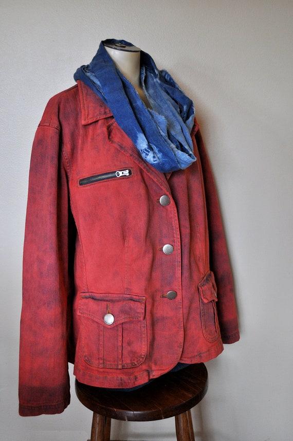 """Denim Jean JACKET - Scarlet Red Hand Dyed Upcycled Venezia Denim Jacket - Size 22/24 Extra Large XL Plus Size (56"""" chest)"""