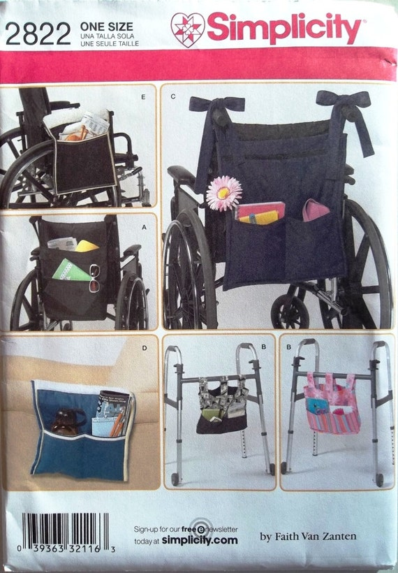 Armchair Pocket, Totes for Wheelchairs & Walkers Simplicity 2822 uncut sewing pattern
