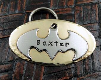 Custom Dog Batman ID Tag - Personalized Dog Collar Tag, Pet ID Tag - Handmade Dog Collar Tag