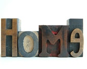 Vintage Wood Letterpress Type HOME