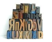 Vintage Letterpress Type Alphabet 26 Piece Set of wood printers blocks A to Z