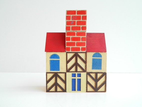 Scandinavian cottage style house wood building blocks 11 pieces