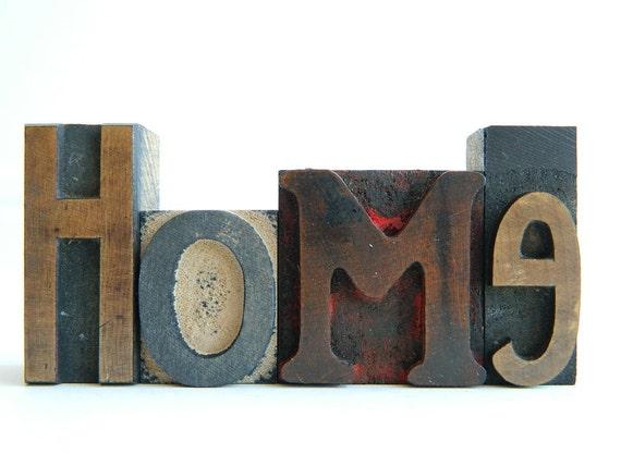 Vintage Wood Letterpress Type HOME