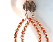 gold plated pyrite, smoky quartz, 14K gold fill and bright red coral 'golden poppy' earrings