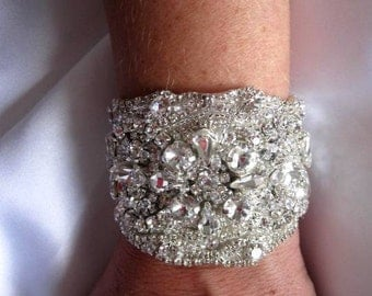 Bridal Wedding Crystal Bracelet Cuff Bangle