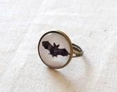Black Bat Ring. Adjustable Glass Dome Ring. Halloween Jewelry.