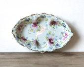 Shabby Violet  Floral Porcelain Relish Dish Vanity Tray