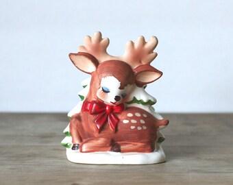 Lefton Reindeer Napkin Holder Japan 1950s 1960s