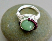 Vintage Jade Wire Wrapped Ring - Silver FILLED Wire