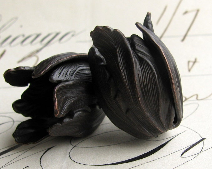 Black Tulip bead cap - dark antiqued brass flowers (2 bead caps) flourish petal, trumpet floral, aged patina, Art Nouveau flower