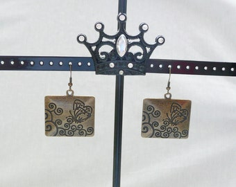 nd-Extra Large Bronze Butterfly Dangle Earrings