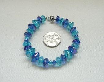 nbc-Aqua and Blue AB Acrylic Rondelle Bead Bracelet with Silver Toggle Clasp