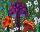MOD-LOVE SALE!  Vintage 1960s Mushrooms Flower Power Yarn Art Picture , Eames Era Mod Pop Textile Wall Hanging