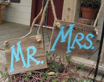Ready to Ship Aqua Turquoise Mr and Mrs Western Rustic Wedding Sign Bridal Barn Wood Bride Groom Hanging