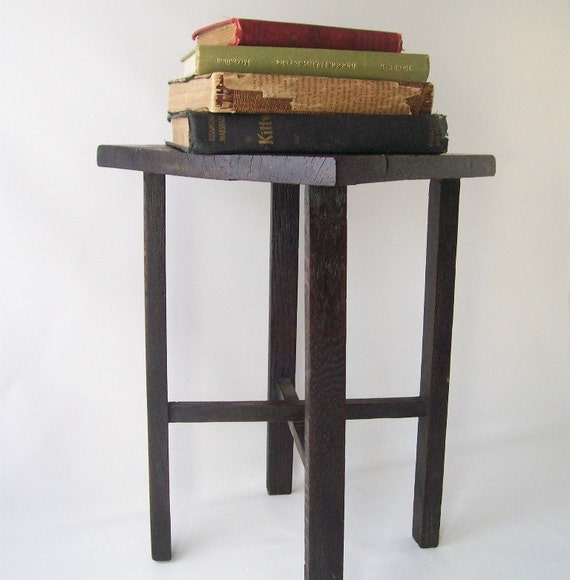 vintage wood plant stand small mission style arts & crafts furniture home decor short dark solid oak retro mid century modern traditional co