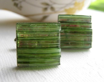 Peridot Cuff Links Light Green Cufflinks Stained Glass Jewelry For Men Eco Friendly Accessories Square Silver Mosaic Jewelry For Groom