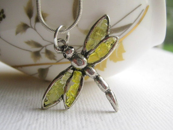 Dragonfly  Necklace, Yellow Dragonfly, Stained Glass Dragonfly, Silver Dragonfly