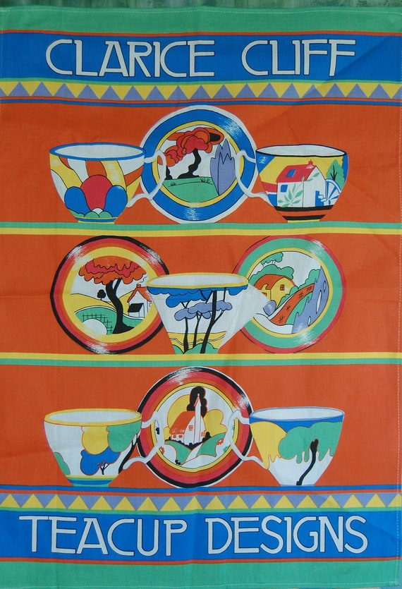 Retro Collectible CLARICE CLIFF Linen Towel Bright Screen Printed Fabric with Iconic Pottery Designs