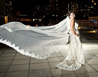 Cathedral length veil with Alencon lace - Marni Jo