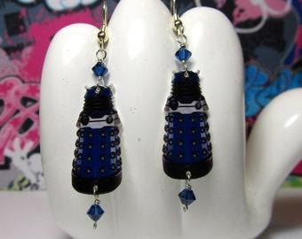 Doctor Who Blue Paradigm Dalek Dangle Earrings