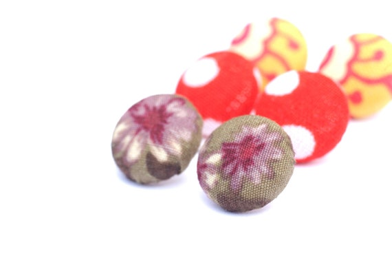 Fabric Covered Button Earrings, Flower Earrings, Purple Earrings, Cover Button Studs, Surgical Stainless Steel Button Earrings