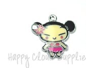 Hula Girl Enamel Charms... 4pcs